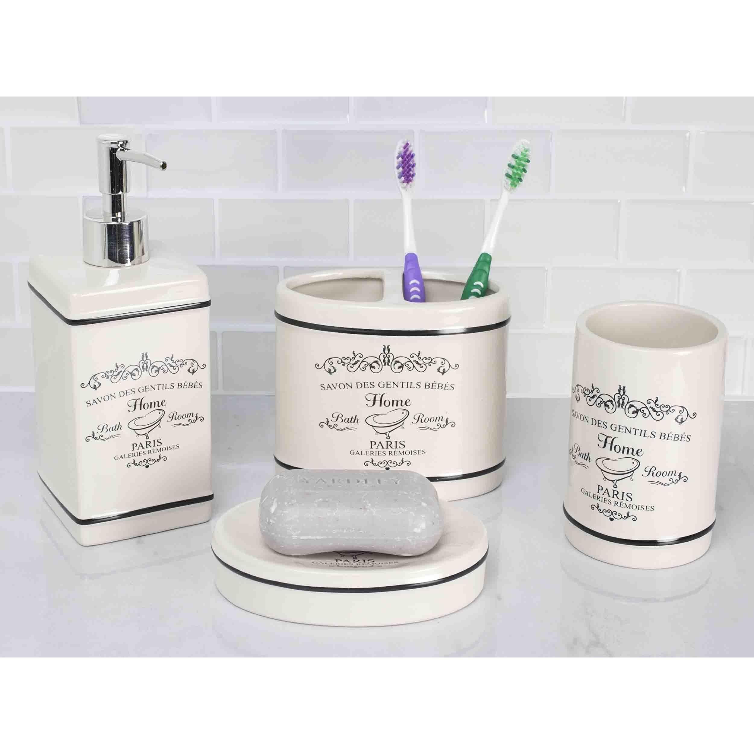 Home Basics Paris Offwhite Ceramic 4Piece Bathroom Accessory Set Enchanting Bathroom Accessory Set Design Ideas