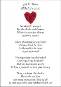 Wedding Money Poems X 75 Many Designs Vintage Wedding Stationery