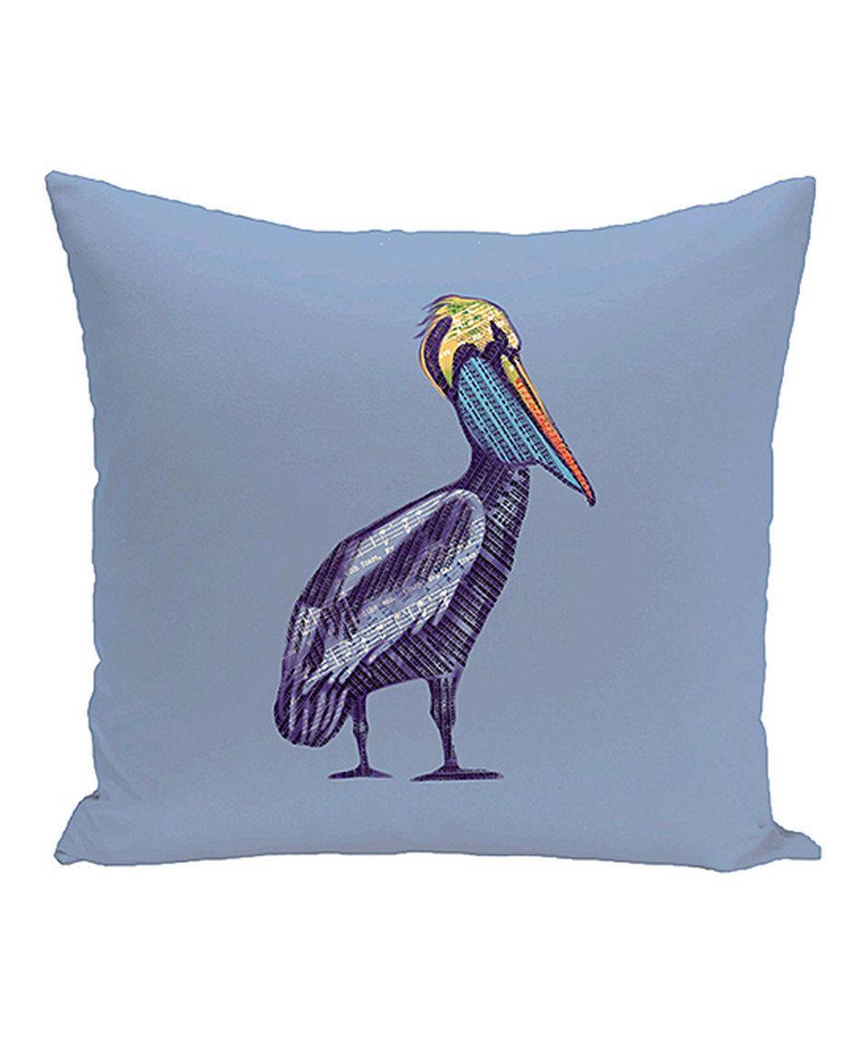 Blue Pelican & Music Note Throw Pillow by E by Design #zulily #zulilyfinds