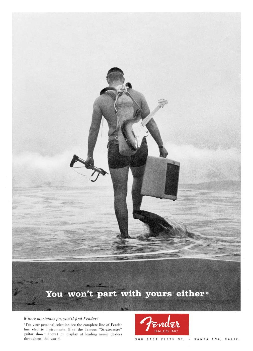 """Perhaps the most iconic image from Robert Perine's """"You won't part with yours either"""" Fender ad campaign. #60s"""