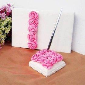 rosa Rose Luxus Hochzeit Gästebuch und Pen-Set ausgekleidet