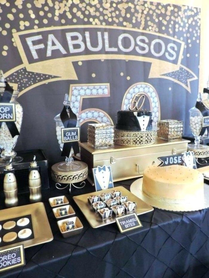Black And Gold Birthday Theme With Small Tuxedo Decorations An Surprise 50th Birthday Party 50th Birthday Party Decorations 50th Birthday Party Ideas For Men