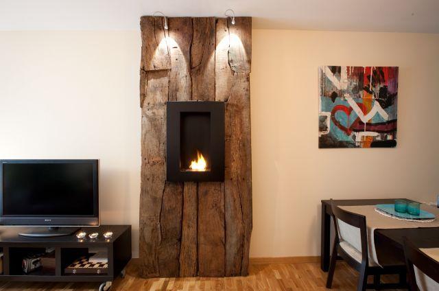 Salon moderno con aire rustico estufa pinterest for Salon cocina moderno