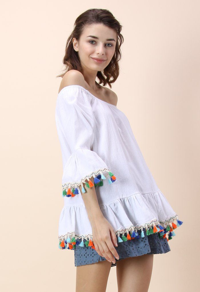 14d257ce04163 Rainbow Swinger Off-shoulder Top in White - Tops - Retro