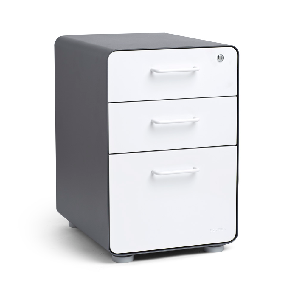 Charcoal White Stow 3 Drawer File Cabinet Poppin In 2020 Filing Cabinet 3 Drawer File Cabinet Minimalist Drawers