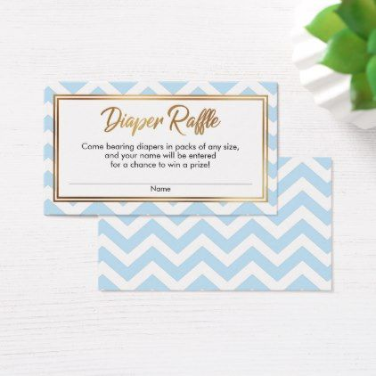 Baby Blue  White Bold Chevron Diaper Raffle Cards - pattern sample