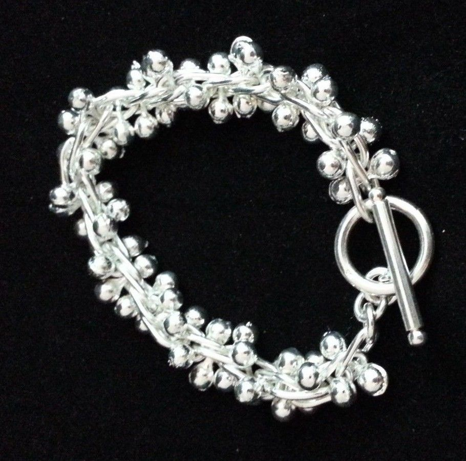 """Fashion Inspired Silver Uniquely Beaded Bracelet w/ Bar & Loop - 8"""" - New. #Statement"""