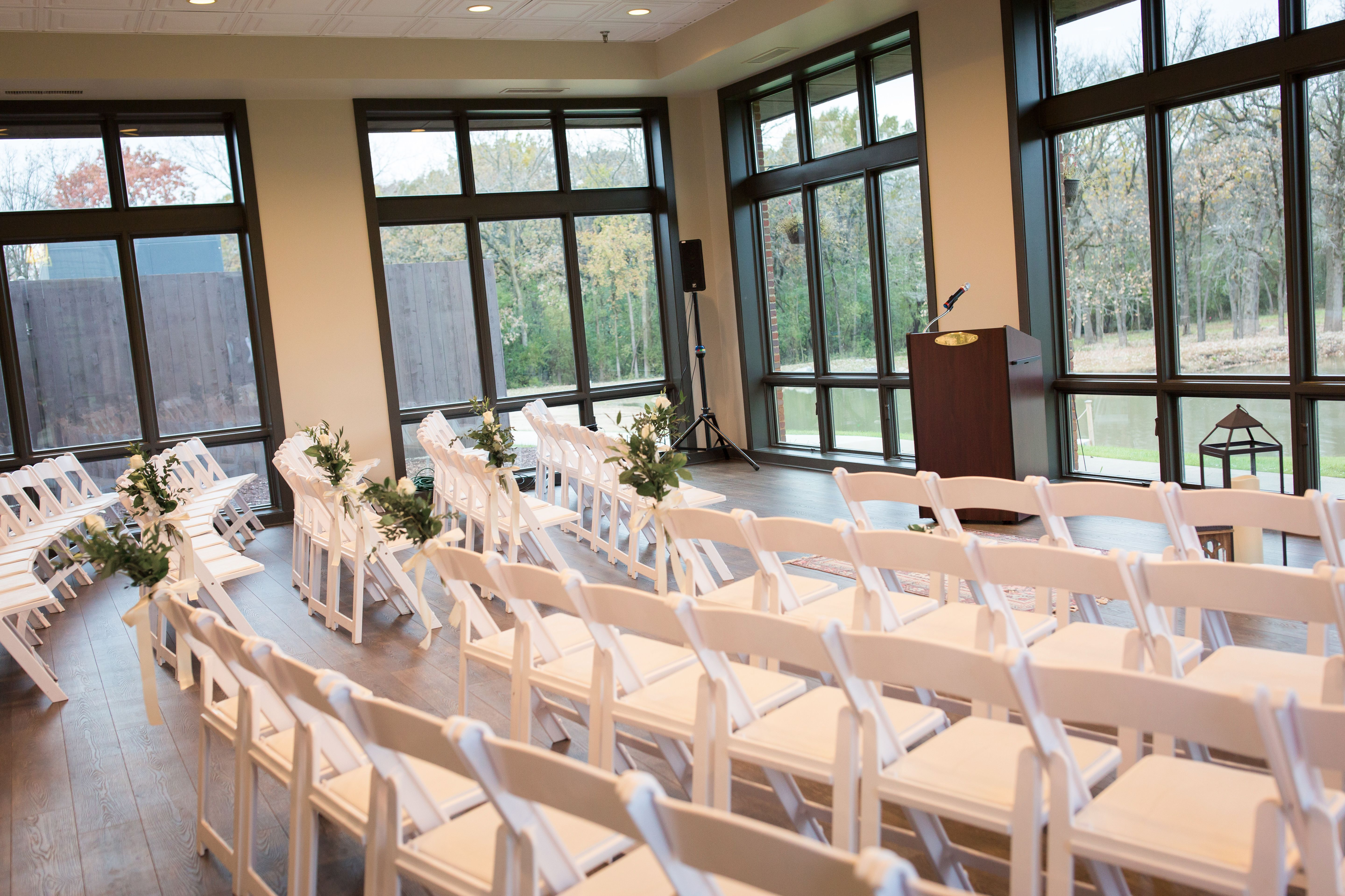 Beautiful, indoor setting for a wedding ceremony at the