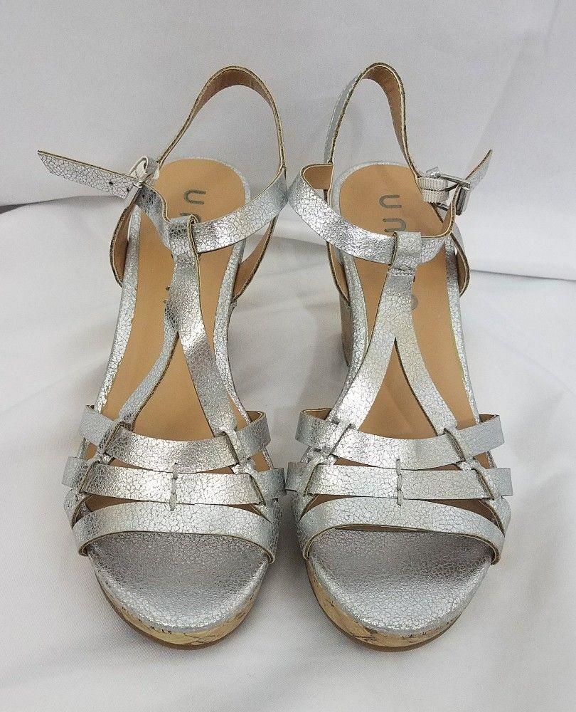 7bb6eedd16f3 Unisa Silver Wedge Metallic Sandal 7 Unkippey New  Unisa  PlatformsWedges