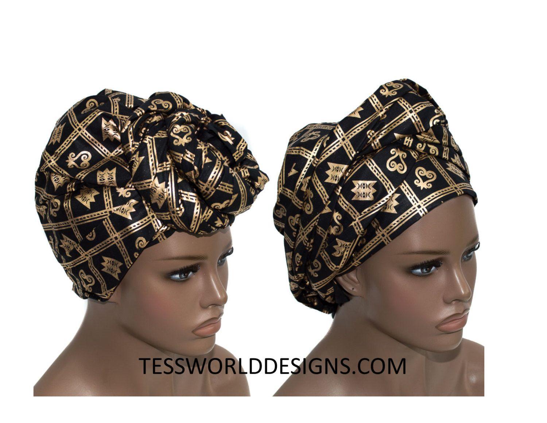 Black and gold head wraps  Adinkra Head tie  0482b321a4f