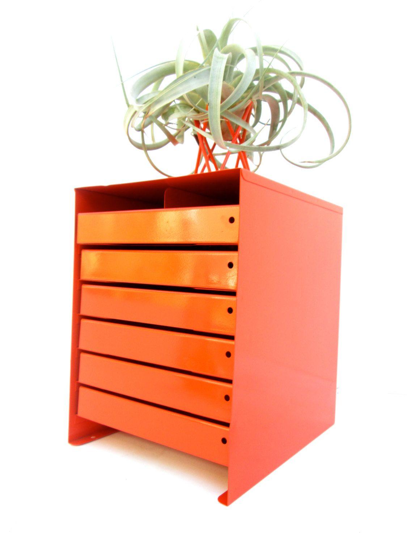 Vintage Industrial Orange Metal Steelcase 6Drawer Rack Parts