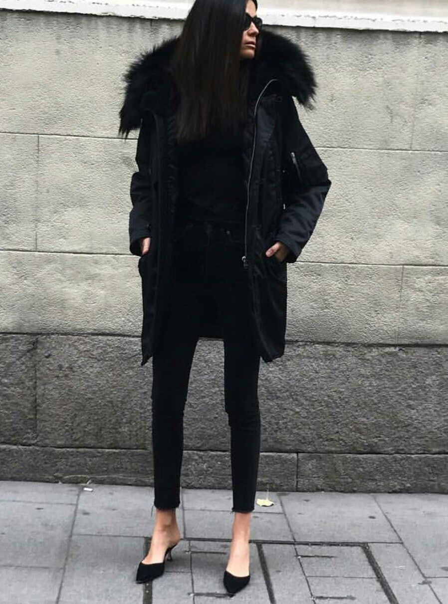 643d5c387 Add some dimensions to your all black winter ensemble in black fur ...