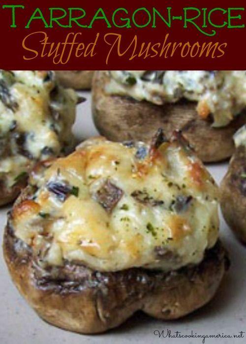 Tarragon-Rice Stuffed Mushrooms Appetizer Recipe    whatscookingamerica.net  #tarragon #rice #stuffed #mushrooms #appetizer #christmas #newyears