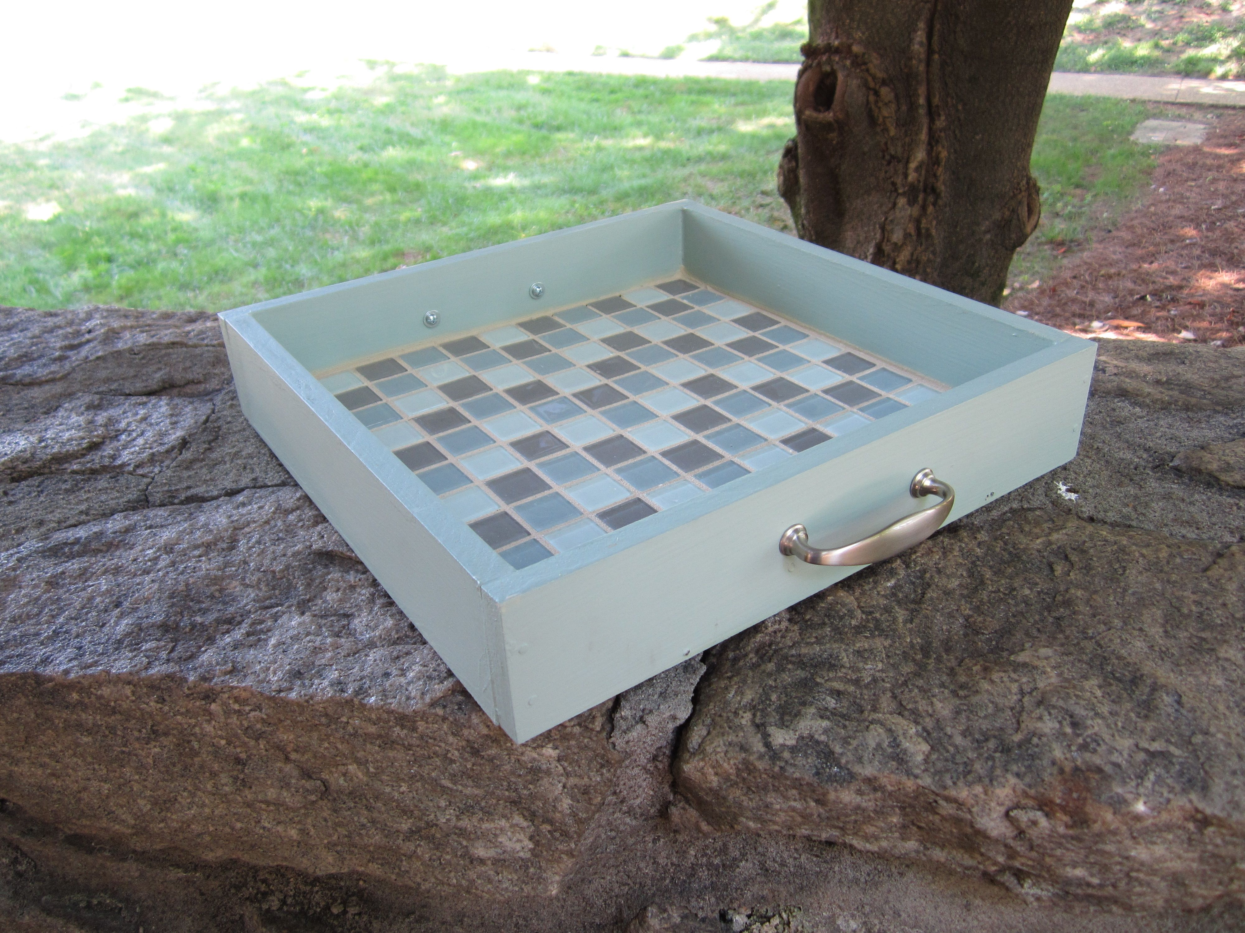 A Diy Serving Tray Made From A Repurposed Drawer Mosaic