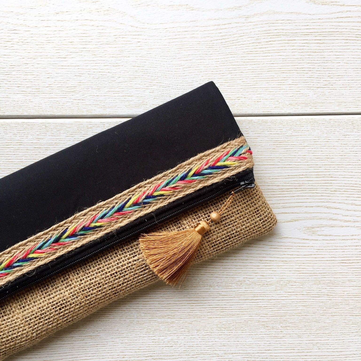 I made this one of a kind clutch from burlap material and