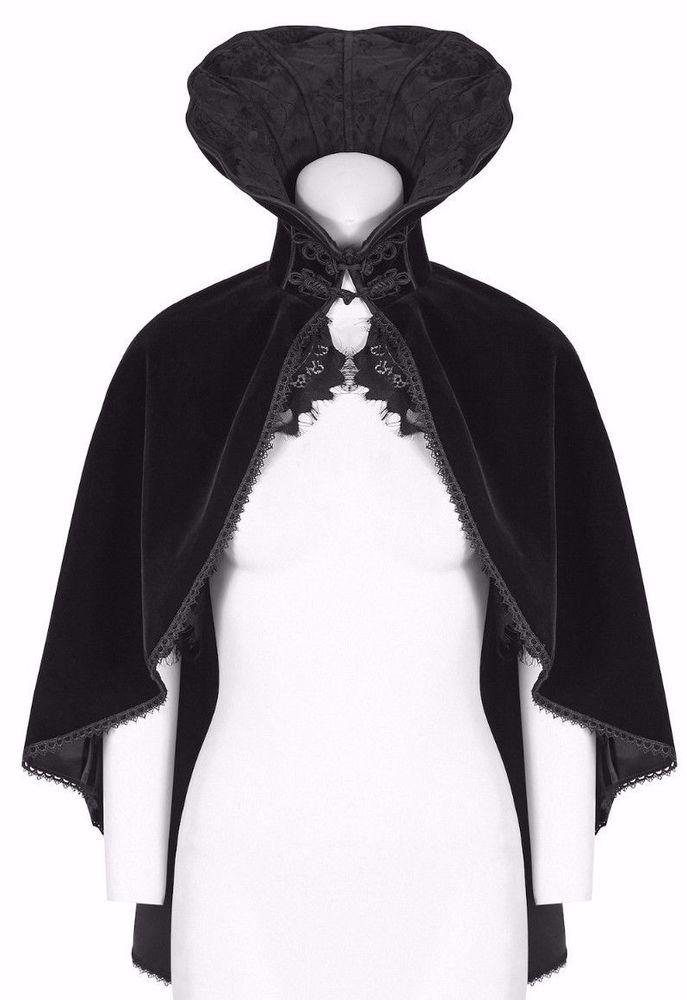 Punk Rave Ladies Gothic Burlesque Vampire Costume Velvet Bolero Cloak Cape