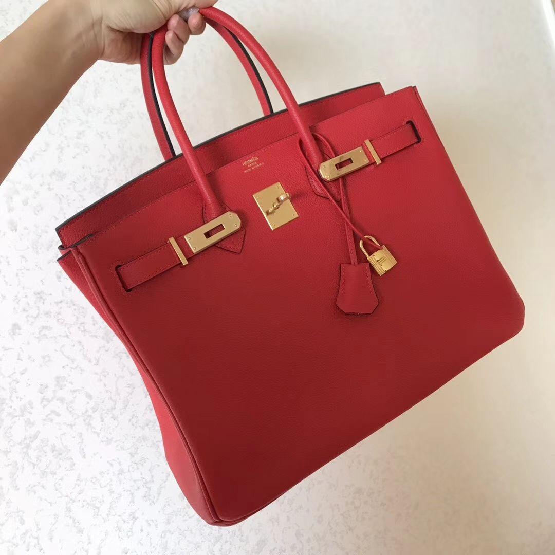 Hermes Birkin 35 Rouge Casaque Bag - Togo Leather 1  5014ec7a96465