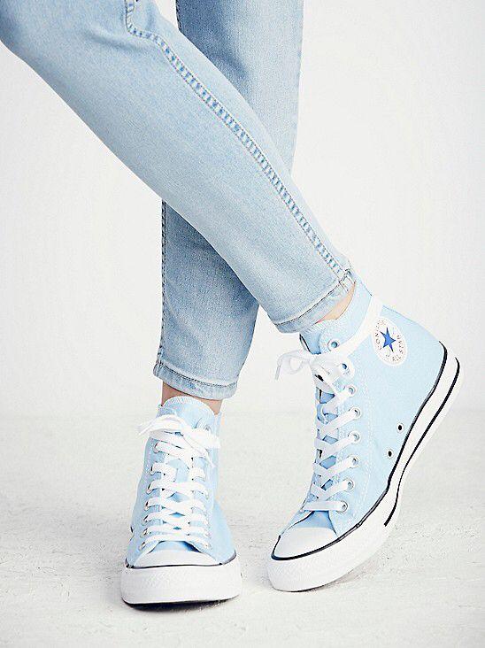sky blue converse | Blue sneakers, Hi
