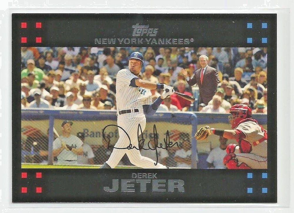 2007 Topps 40 Derek Jeter George W Bush And Mickey Mantle In Background Card Newyorkyankees Mickey Mantle Derek Jeter Cards