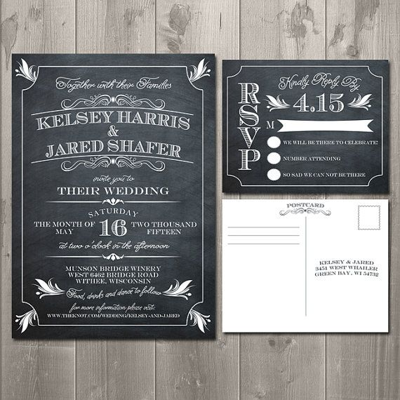 Art Deco Vintage Chalkboard Wedding Invitation Suite Diy