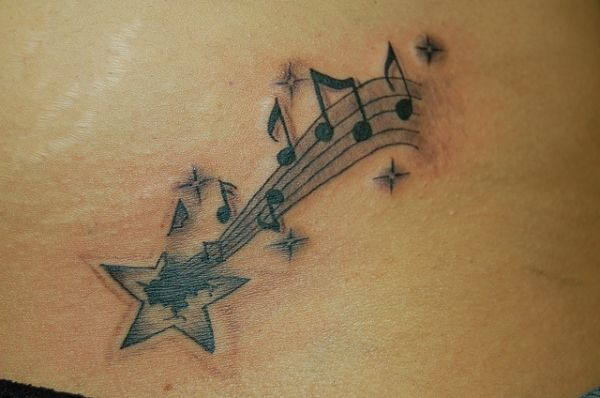 Shooting Star With Musical Notes Tattoo Tattoos Pinterest Star