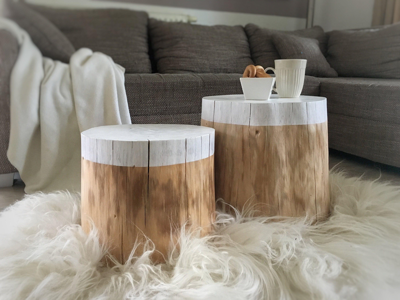 Baumstamm Duo Beistelltisch Nachttisch Couchtisch Weiss Natur Couchtisch Wohnzimmertische Beistelltisch