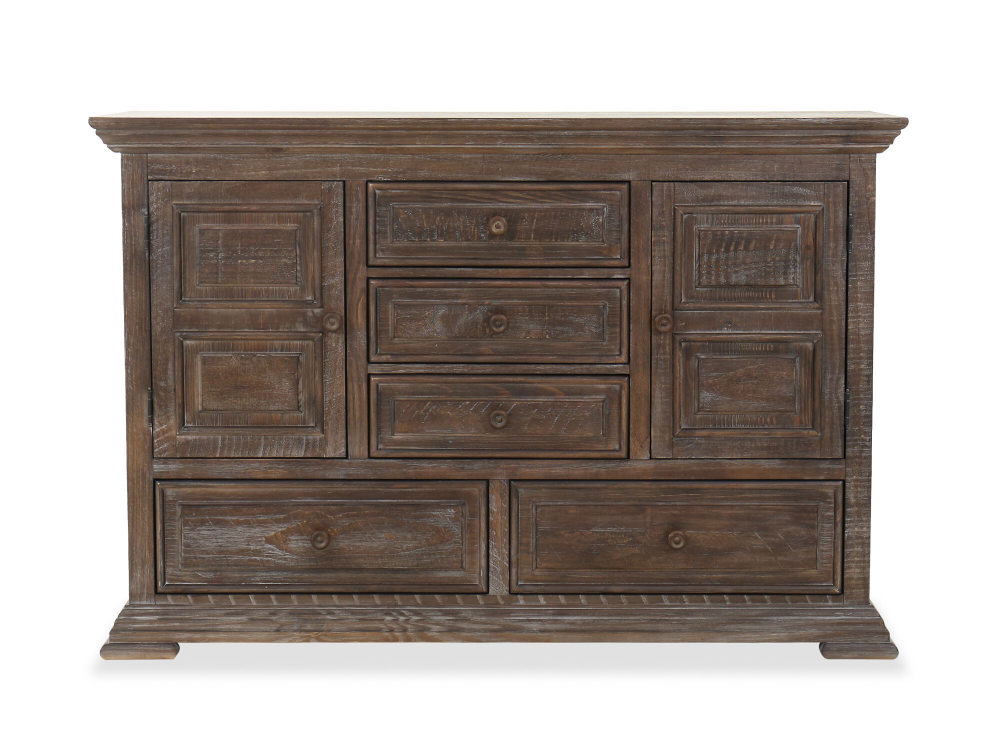 Traditional Five Drawer Dresser In Aged Pine Mathis Brothers Furniture Storage Bedroom