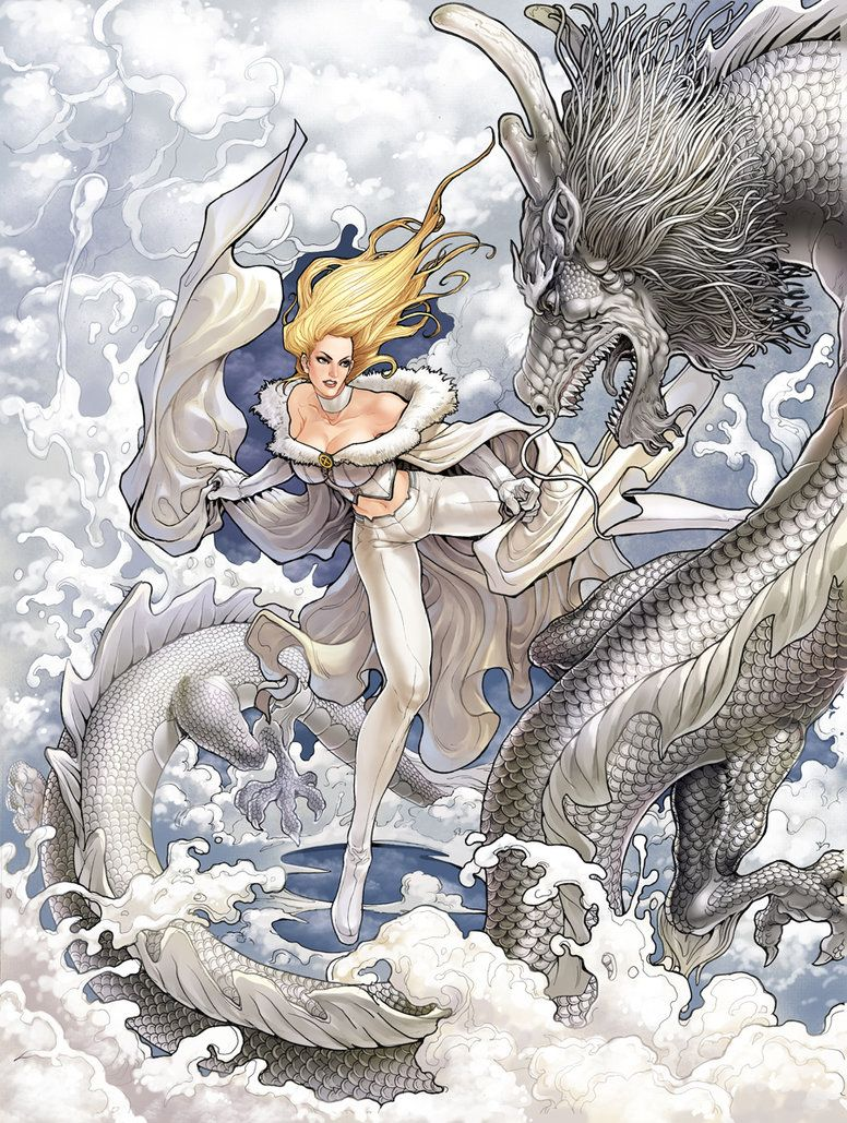 Emma Frost with Ice Dragon by *daxiong on deviantART