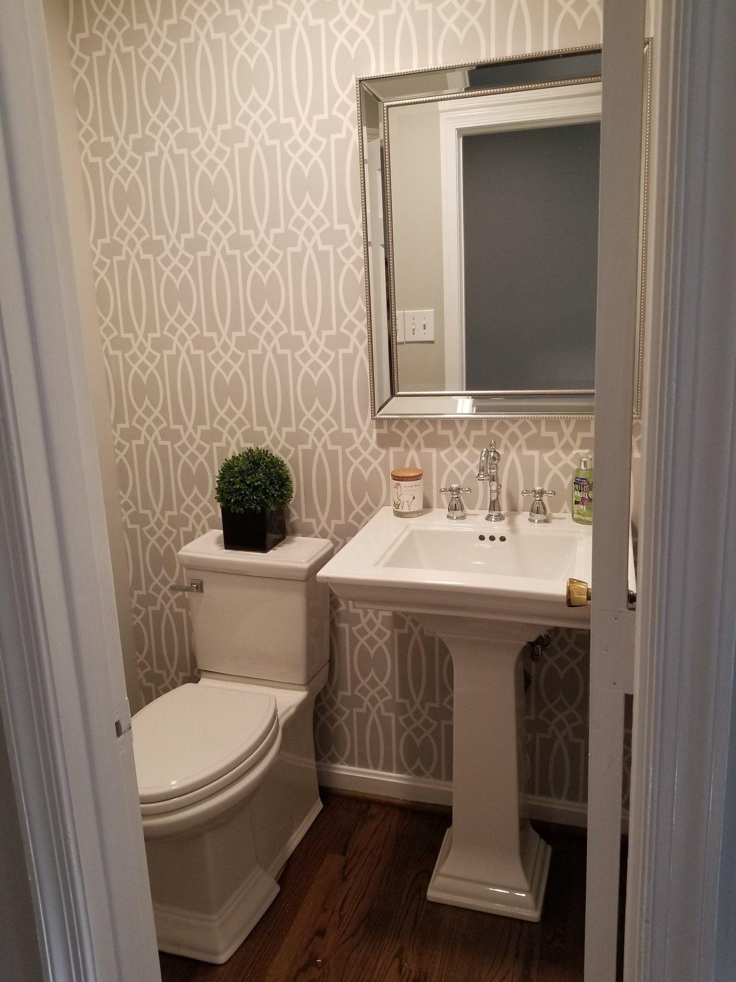 Updated Half Bath With Wallpaper Square Pedestal Sink Cross