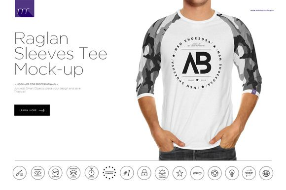 87474c802e3 Raglan 3/4 Shirt Mock-up by mesmeriseme.pro on @creative… | Product ...