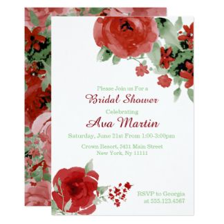 Red Floral, Watercolor Bridal Shower Invitations