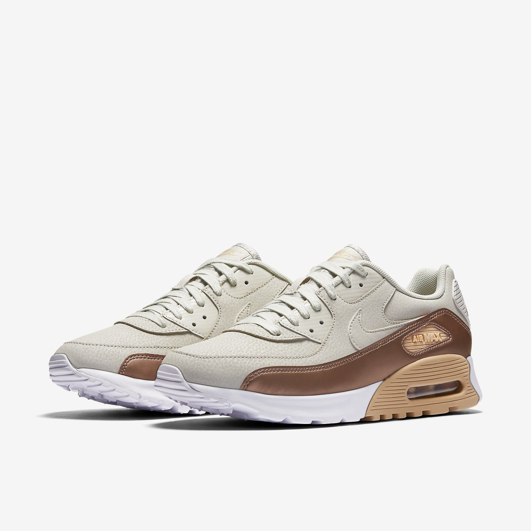 billig Nike Air Max 90 Premium Leather Sneaker Herren braun