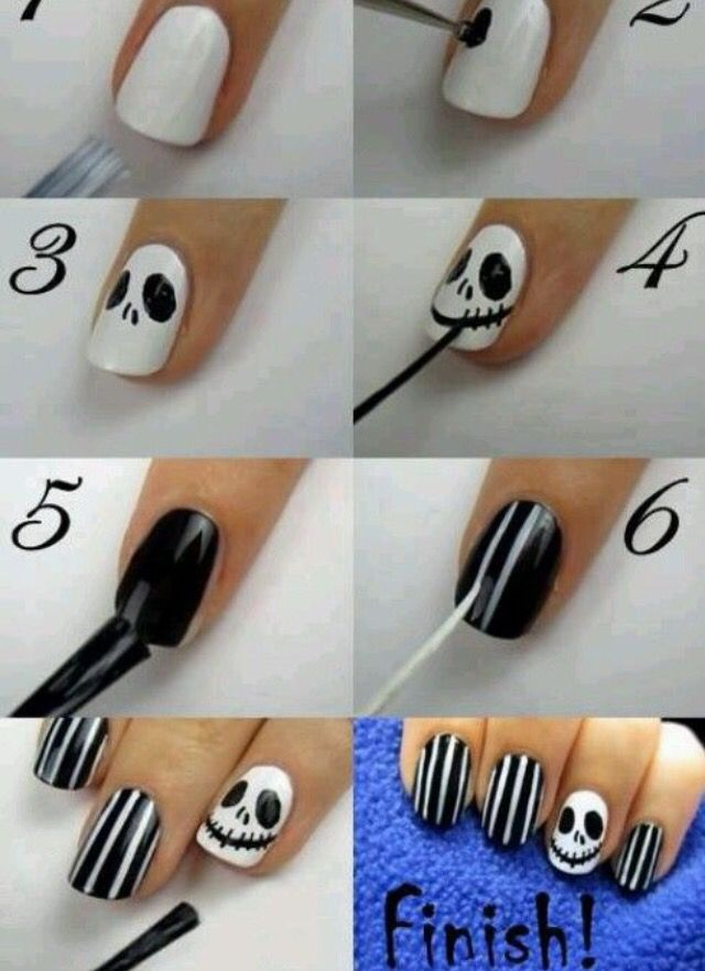 Totally doing this for Halloween! Nightmare Before Christmas nails ...