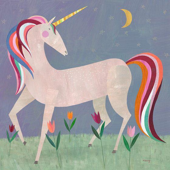 Fairytale Unicorn // Canvas Art Print for Girl\'s Room or Nursery ...