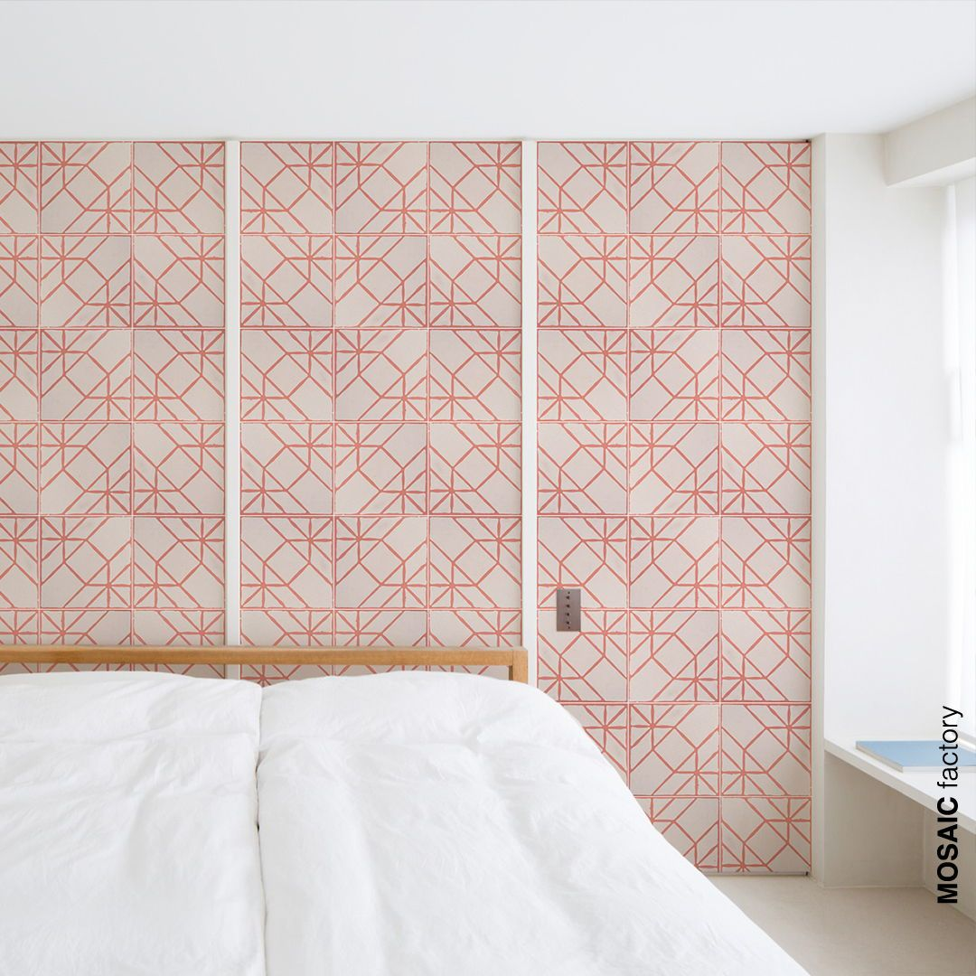 Feature Bedroom Wall With Decorative Pink Patterned Tiles Instead Of Wallpaper Cement Tiles From Mosaic Factory Modern Room Cement Tile Encaustic Cement Tile