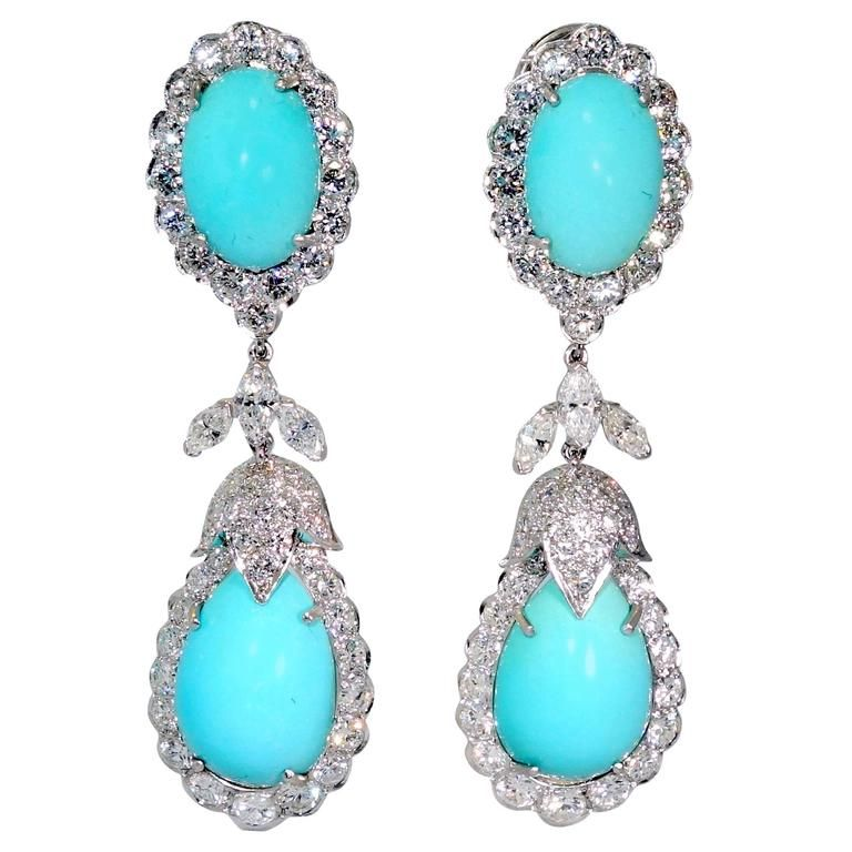 1960s Persian Turquoise Diamond Platinum Long Earriings From A
