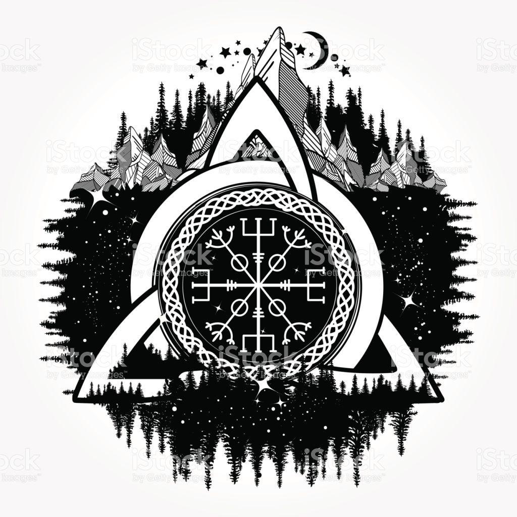 Celtic Trinity Knot Helm Of Awe Aegishjalmur Tattoo