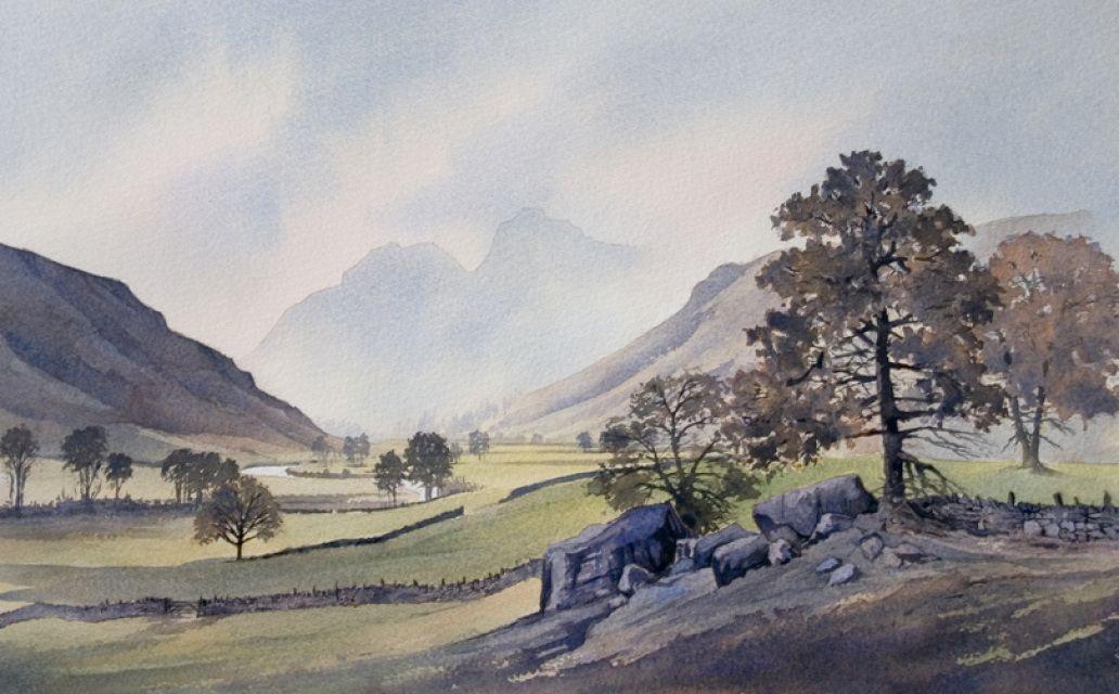 Langdale Valley Watercolor Landscape Landscape Paintings Watercolor Painting Techniques