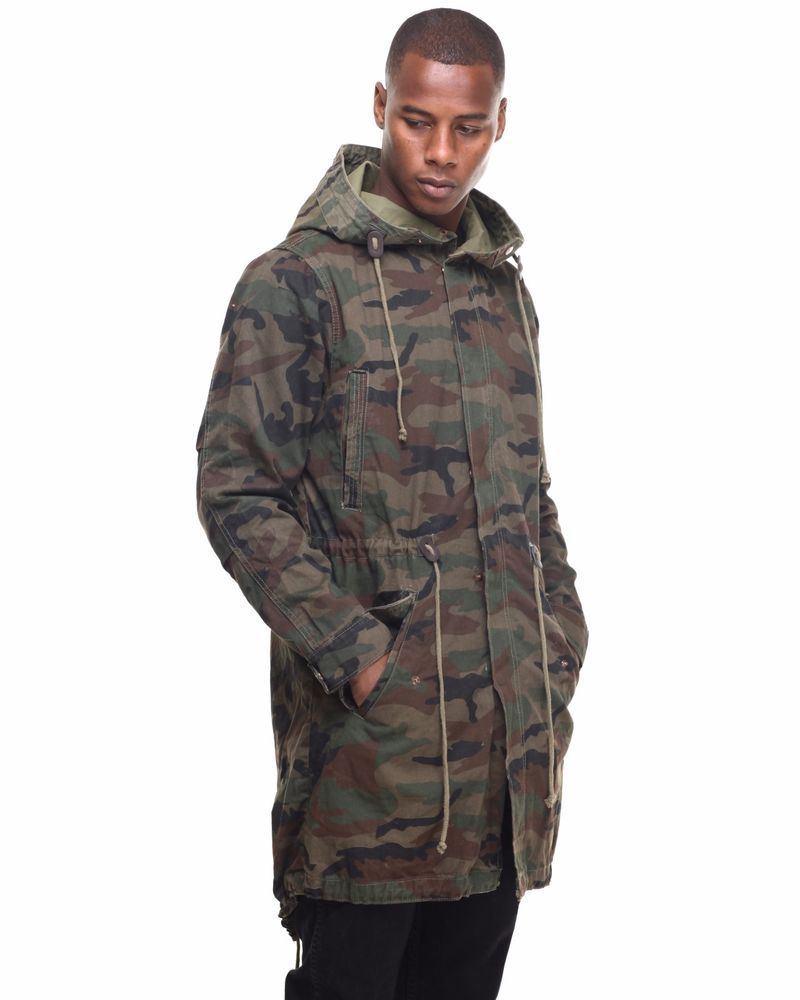Men s Twill Camouflage Garment Washed Fish-Tail Parka Jacket by Smoke Rise   SMOKERISE  Parka 2aa33305c04