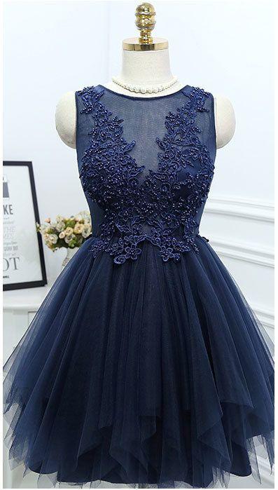 Charming Prom Dress,Navy Blue Tulle Prom Dresses,Elegant Prom Dress,Beaded Prom Gown,Short Homecoming Dress from OKProm #navyblueshortdress