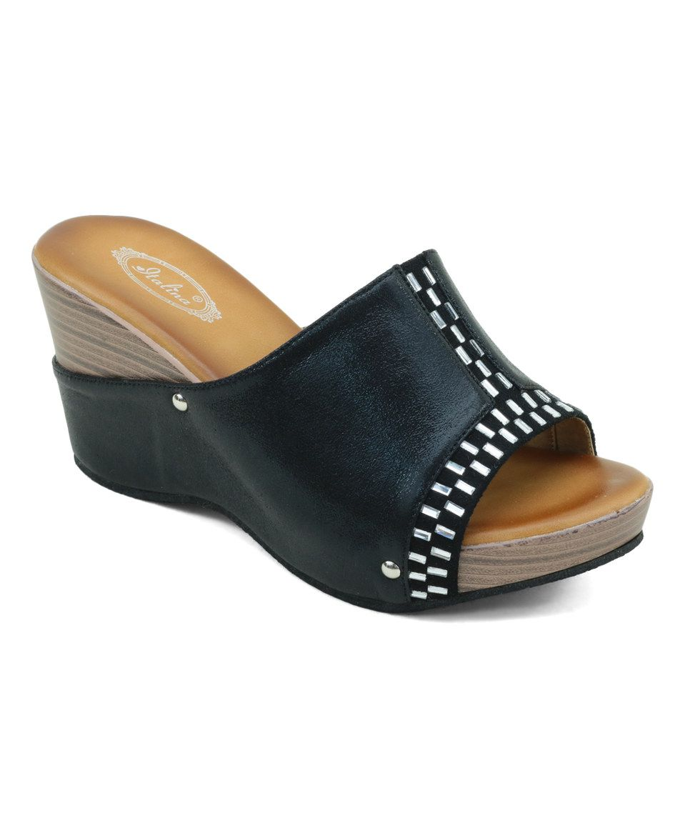 Take a look at this Black Embellished Wedge Sandal today! 24.99 ... bd1f0b3d679
