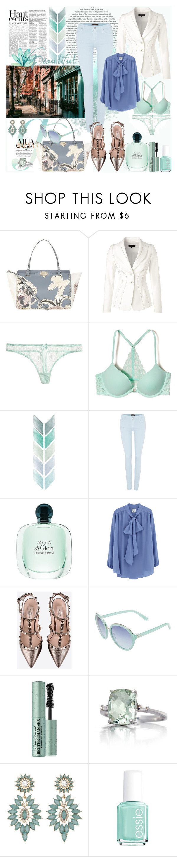 """""""Beautiful pastel colors"""" by the-wardrobe-of-wishes ❤ liked on Polyvore featuring Valentino, ESCADA, Anja, L'Agent By Agent Provocateur, Hollister Co., 7 For All Mankind, Giorgio Armani, Kate Spade, Too Faced Cosmetics and Belk & Co."""
