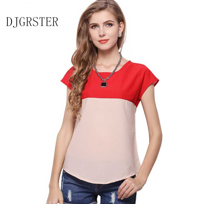 5d0a02475627 DJGRSTER Women Summer Tops Short Sleeve Feminine Blouses Plus Size Loose  Ruffle Patchwork Shirt Fashion Chiffon Blouse For Women