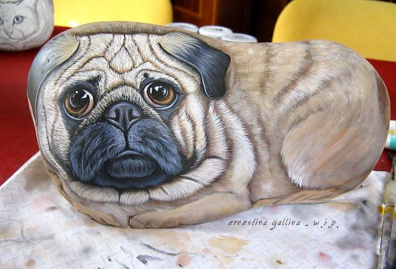 Pug rock hand painted stone by Ernestina by LivingRocks on Etsy