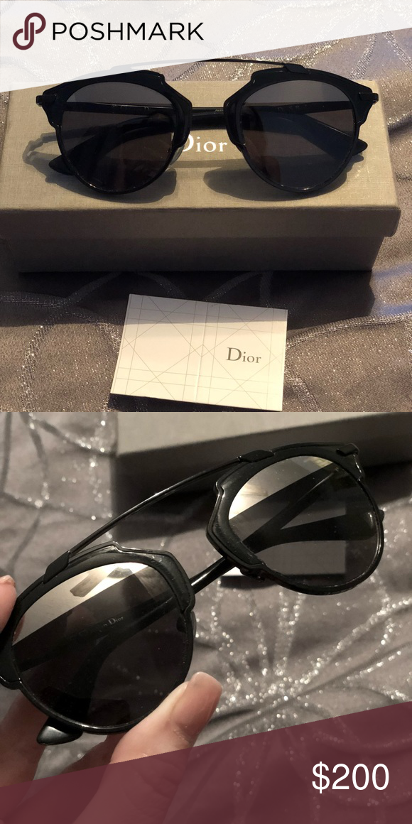 87786aee532f Dior So Real Sunglasses Iconic Dior SoReal Sunglasses in black with half  silver mirror. Lightly worn. Dior Accessories Sunglasses