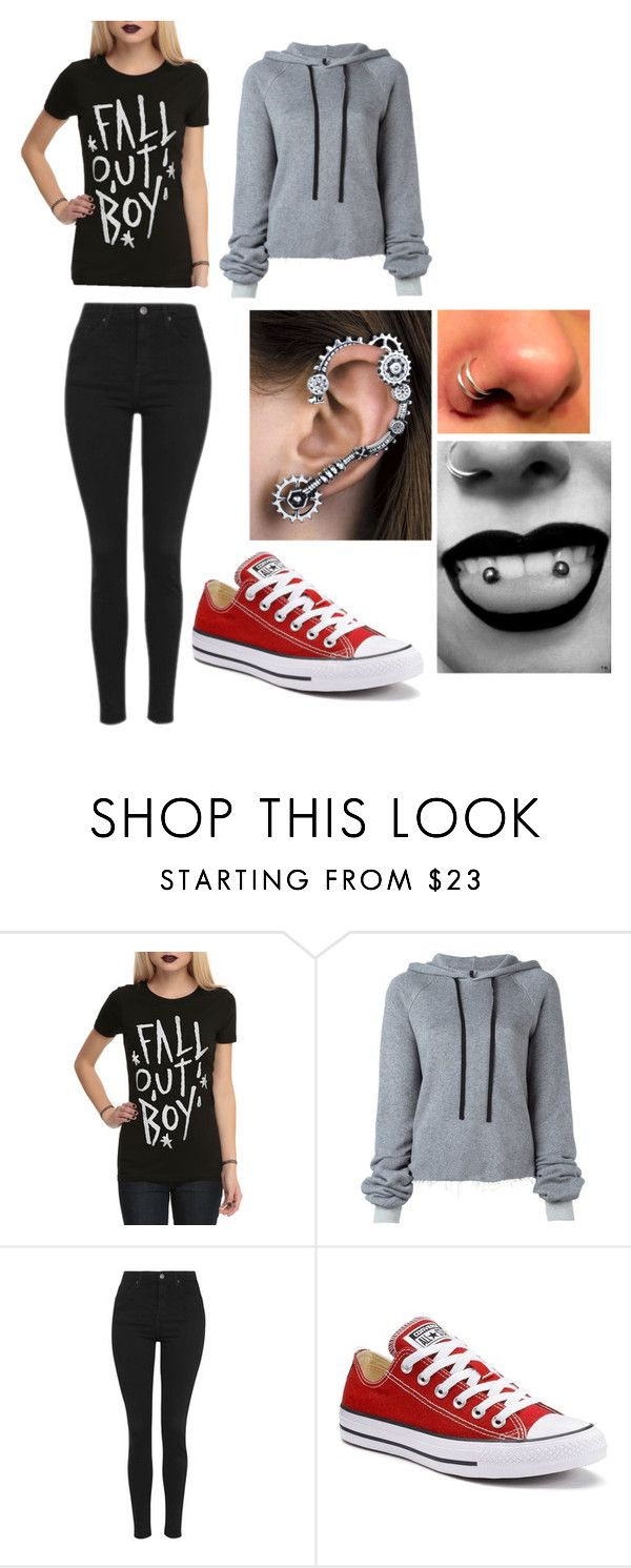 """Fall Out Boy"" by ilovegeeway-emo ❤ liked on Polyvore featuring Unravel, Topshop and Converse"