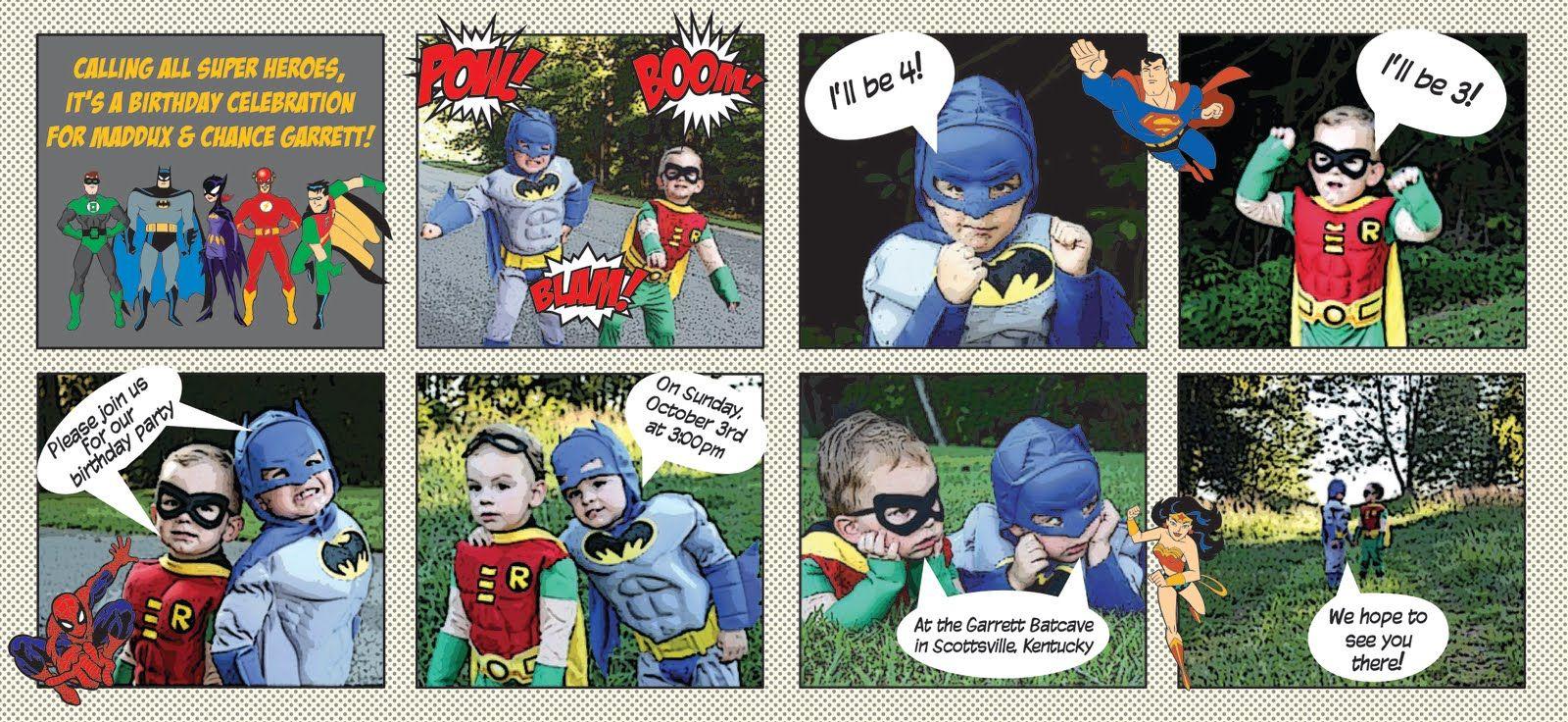 comic strip birthday invitations Happy Day Paperie Batman Robin