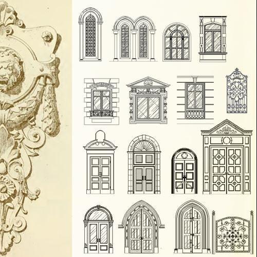 Ornamental door window bundle cad design download for Window design cad