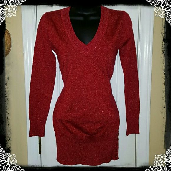Sparkly Red V-neck Sweater Beautiful vneck sparkling red sweater.  Features side buttons. Can be worn as mini dress as well. Excellent condition. Dots Sweaters V-Necks