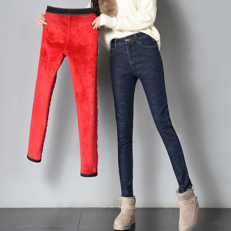 Thick Fleece Jeans Women Winter Trousers For Women 2018 Women Warm Pants Slim Plus Size Jeans Female Ropa De Verano Informal Moda Estilo Moda Del Momento